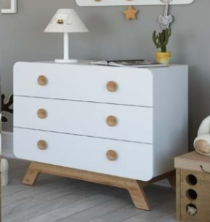 Almila Babyzimmer Kommode Baby Cute in Weiß