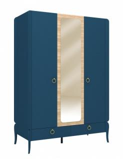 Design Kleiderschrank Elegant Blue 3-türig