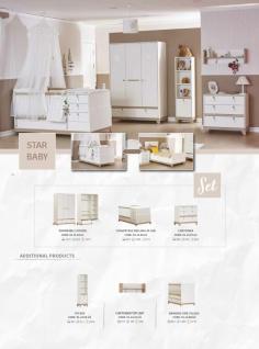 Babybett in Holz Optik Weiß Star Stern 70x130 - Vorschau 2