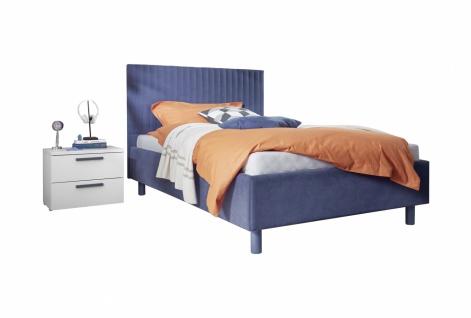 Design Polsterbett gestreift Space Blau 120x200