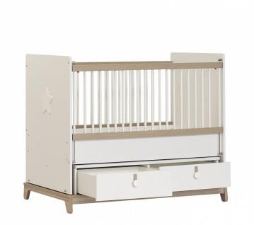 Babybett in Holz Optik Weiß Star Stern 70x130