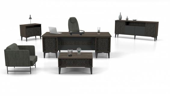 Schreibtisch Set Kabin Holz Optik Grau 3-teilig