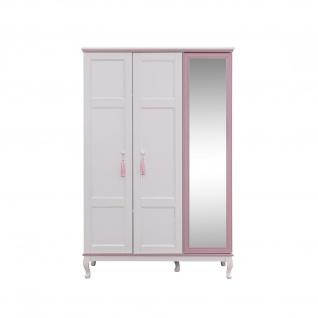 Odacix Kleiderschrank Lilyum 3-türig mit Spiegeltür Weiß