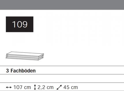 3 Schränke-Fachböden Breite 107 cm