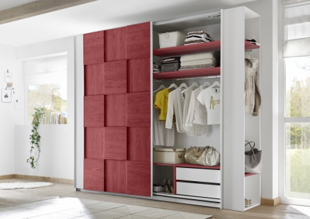 Design Garderobenregal Weiß Rot Space 205cm