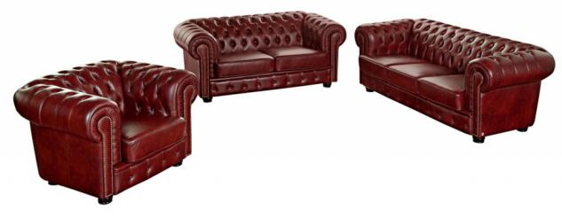Sofa 3-Sitz/Sofa 2-Sitz/Sessel Norwin Wischleder, rot