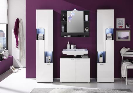 Badezimmer Set Dafne 4-teilig Weiß Graphit