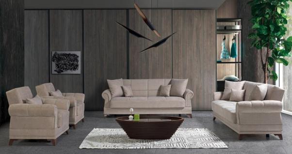 Couch Sofa Garnitur mit Stauraum in Beige Royal 3+2+1