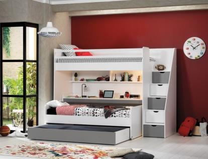 Almila Kinderzimmer Set Neo mit drei Schlafplätzen Grau