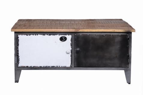 Couchtischtruhe Präter 90x90 cm mit 4 Türen aus Metall