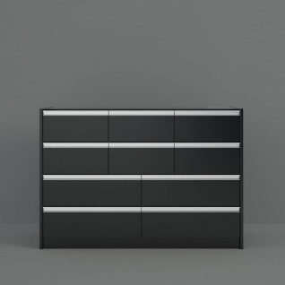 Highboard in Schwarz Braun Borry mit Glastop