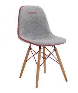 Cilek Trio Stuhl in Grau mit roter Ziernaht