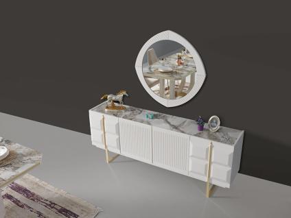 Sideboard Pianno mit Spiegel & Türen in Weiß
