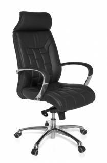 XXL Chefsessel Turin Echtleder schwarz, 5-Punkt Multiblock-Mechanik, Bürostuhl bis 120kg