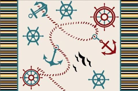 Titi Kinderteppich im Marine Captain Design 180x120