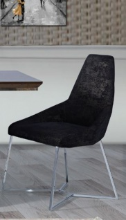 Lidya Stuhl fürs Esszimmer einbeinig Ruiz Schwarz Silber