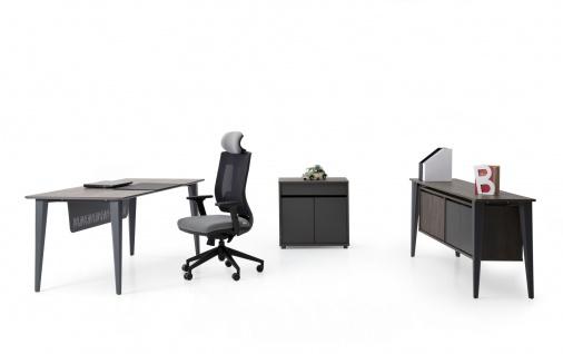 Ovali Schreibtisch Set 3-teilig Iconlux Grau 160x80 cm