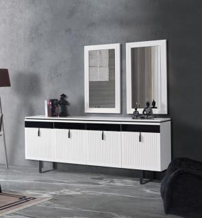 Sideboard Yilma mit Türen & Spiegeln in Weiß