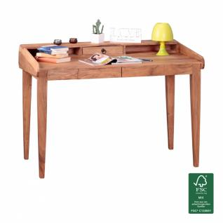 WOHNLING Schreibtisch Massiv-Holz Akazie Sekretär 117cm breit mit 3 Schubladen Design Ablage Büro-Tisch Landhaus-Stil