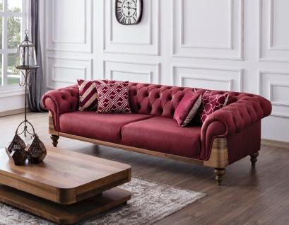 Chesterfield Sofa in Rot Vitala mit Kissen