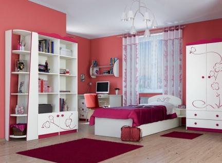 Jugendzimmer Set Sakura 7-teilig Creme mit Blütendekor