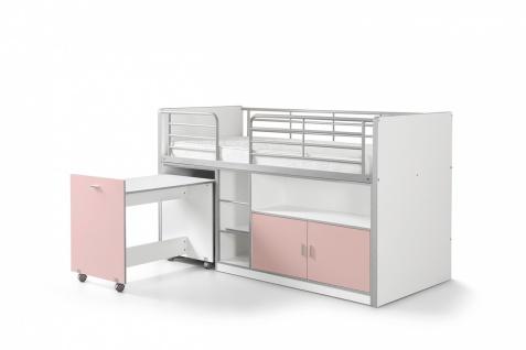 Bonny Hochbett 90x200 mit Schreibtisch Rosa