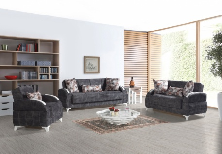 Sofa Garnitur mit Schlaffunktion Dunkelgrau Diva 3+2+1