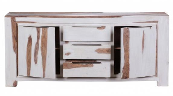 Sideboard Massivholz Sheesham White Wash Finish 176 x 49 x 76 cm 2 Türen 3 Schubläden