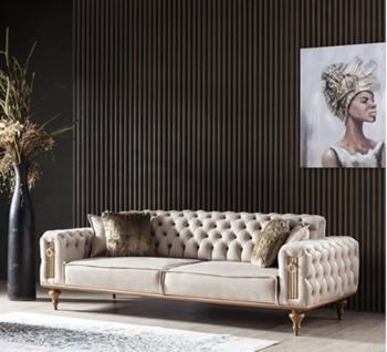 Weltew Design Sofa 3-Sitzer Beyoglu in Nubuk Optik