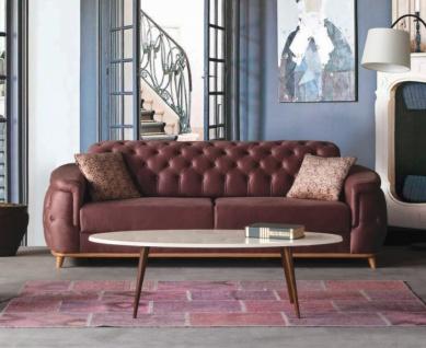 Design Sofa Halley 3-Sitzer Rotbraun