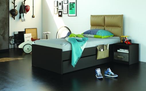 Jugendbett mit Polsterkopfteil Novali 120x200