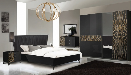 Schlafzimmer Set Savana 180x200 Schwarz/Leopard