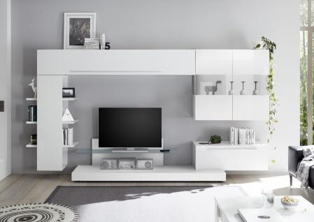 Wohnwand Set in Weiß Hochglanz Veldig 6-teilig