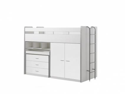 Bonny Hochbett mit Kleiderschrank 90x200 in Weiß
