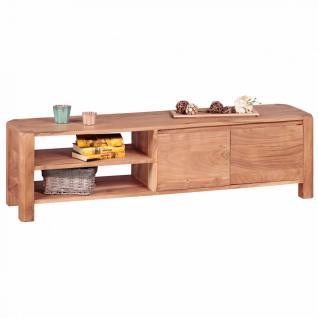 WOHNLING Lowboard Massivholz Akazie Kommode 140 cm TV-Board Ablage-Fächer Landhaus-Stil Unterschrank 40 cm TV-Möbel