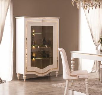 Vitrine Annelore in Barock Stil Weiß / Gold