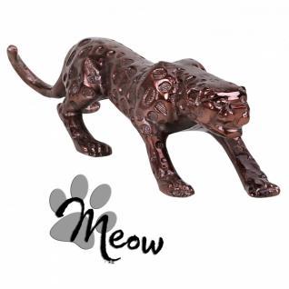 Design Deko Figur Panther 60 cm aus Aluminium Farbe Bronze