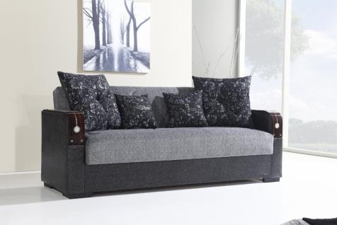 Schlafsofa mit Bettkasten 2-Sitzer Grau Misra