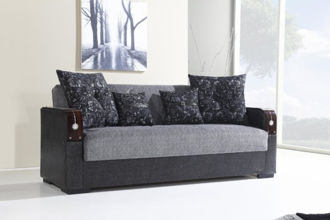 Schlafsofa mit Bettkasten 3-Sitzer Grau Misra