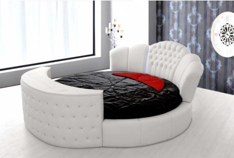 Rundes Bett Weiß inklusive TV System und LED Kardelen