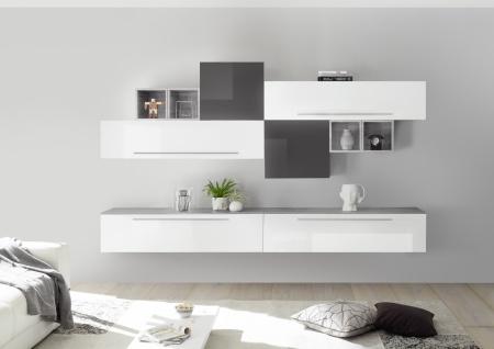 Wohnwand Veldig 10-teilig in Hochglanz Weiß Grau