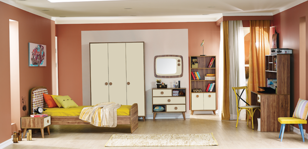 Jugendbett in Holz Optik Retro Trend 120x200