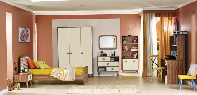 Jugendzimmer Set in Beige Retro Trend 7-teilig
