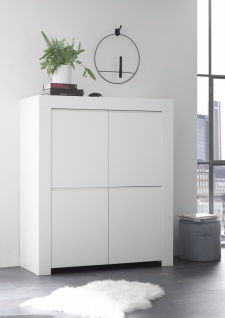 Highboard in Weiß matt Lack Fire 4-türig