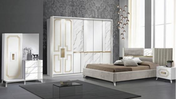 Schlafzimmer Set Beata 160x200 in Weiß/Gold