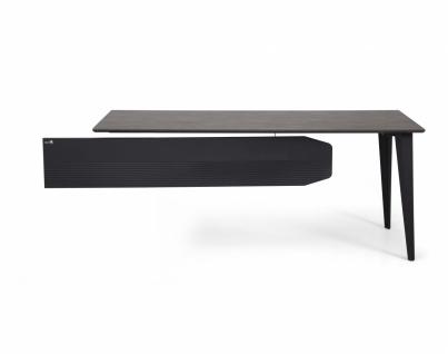 Ovali Schreibtisch 2-beinig Snap Schwarz Holzoptik 160x80 cm