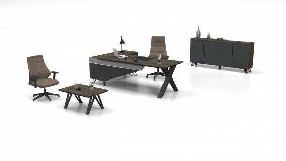 Büromöbel Cross Holz Optik Grau 3-teilig Rechts