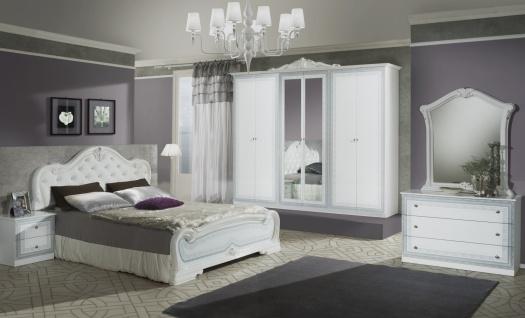 Italien Schlafzimmer Weiß Liona mit 6-türigem Schrank