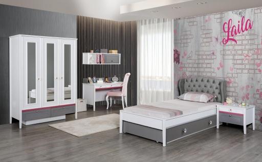 Design Mädchenzimmer in Weiß Grau Laila 5-teilig