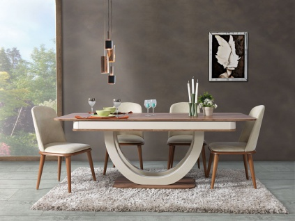 Lidya Esszimmer Tisch Panama mit 4er Set Stühle